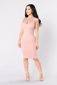 Available in Mauve and Black Fitted Midi Dress Cap Sleeves Mock Neck Chest Cut Out Design Exposed Back Zipper Rayon Nylon SpandexImported Sexy Dresses, Casual Dresses, Fashion Dresses, Fitted Midi Dress, Bodycon Dress, Cap Dress, Dress Skirt, Fashion Models, Girl Fashion