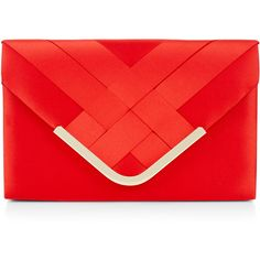 Accessorize Mina Envelope Satin Clutch Bag (455 ZAR) ❤ liked on Polyvore featuring bags, handbags, clutches, red purse, red clutches, satin purse, red handbags and envelope clutch