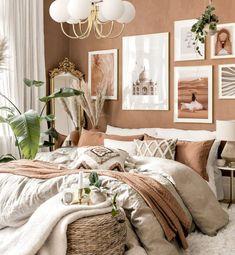 Earthy Bedroom, Natural Bedroom, Warm Bedroom Colors, Boho Bedroom Decor, Boho Room, Room Ideas Bedroom, Home Bedroom, Bedroom Color Schemes, Boho Living Room