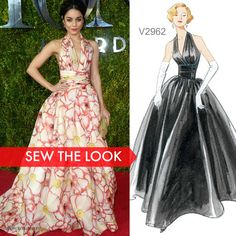 Sew the Look: Vogue Patterns V2962 vintage gown pattern sews up just like this gown Vanessa Hudgens wore to the 2015 Tony Awards.