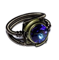 Steampunk Jewelry Ring Bermuda Blue Crystal