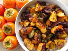 Warm Vegetable Salad with Persimmons Persimmon Recipes, Red Skin, Stuffed Mushrooms, Stuffed Peppers, Root Vegetables, Vegetable Salad, Kung Pao Chicken, Potatoes, Pumpkin