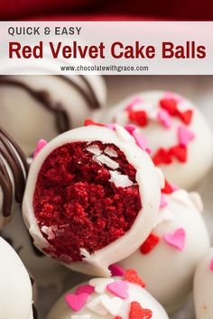 These Red Velvet Cake Balls are dipped in white chocolate and are elegant truffles for Valentine's or Christmas. I had a red velvet cake mix sitting in my cupboard for awhile and thought cake balls sounded good one day. Cake Truffles, Cupcakes, Cupcake Cakes, Cake Ball Recipes, Dessert Recipes, Easy Red Velvet Cake, Red Velvet Desserts, Red Velvet Recipes, Red Cake