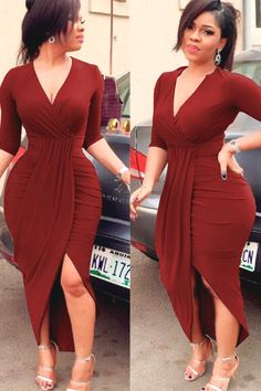 Women Plunging Long Sleeve Wrap Tulip Slit Sexy Bodycon High Low Dress - Dark Red, M