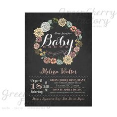 Baby Shower Invitation - Vintage Chalkboard Background - Wreath Spring Summer Floral Mint Coral Pink Flower - Printable Invitation - No.06 via Etsy