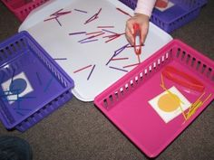 Tweezers Game with Match Sticks and Pompoms