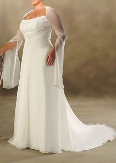 cheap plus size wedding dresses with sleeves.... If you took off the sleeves and the train I would really like this!