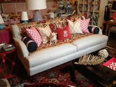 Love the eclectic feel and monogram pillow!
