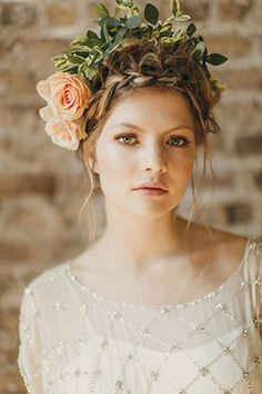 Bridal hair with braid and roses | www.onefabday.com