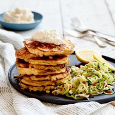 Ricotta, Leek and Corn Fritters with Zucchini Noodles