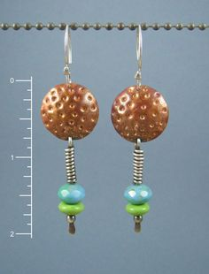 Mixed Metal Disc Earrings Copper and Sterling by something2magpie