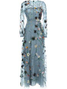Valentino Vestido longo com bordado floral.