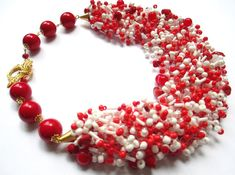 Red and white airy beaded necklace  seed bead от BagiraBijou