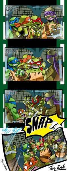 The turtles attempting to take a picture (awesome fan art)!