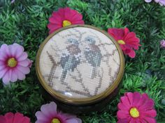 Ceramic Jewelry Box - Vintage Box - Bird Jewelry Box - Embroidered Box - Framecraft Box - Tapestry Box - Made In England - Needlepoint Box by MissieMooVintageRoom on Etsy