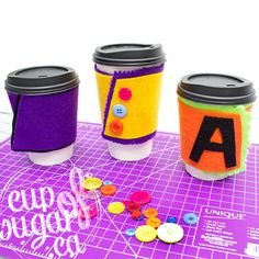 No-Sew Coffee Cozy | cupofsugar  A great kids' craft for teachers, perfect for any occasion.  Free pattern included! #DIY