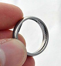 Titanium ring conceals saw and handcuff opener