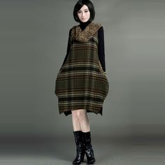 Wool Velvet Plaid Vest Style Dresses - $309 - SKU: 924323 - Buy Now: elegente.com/... #ChineseladyQipao #Qipao #Cheongsam