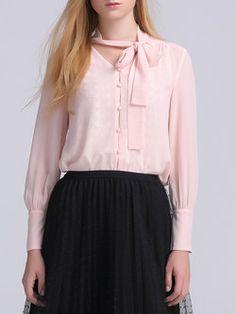 Pink Long Sleeve Plain Simple Blouse