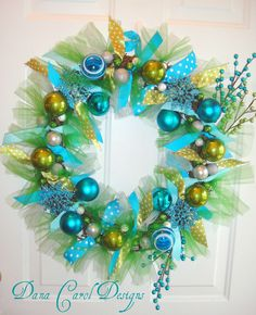 Caribbean Christmas - Turquoise & Lime Green Wreath. $ 68.00, via Etsy.