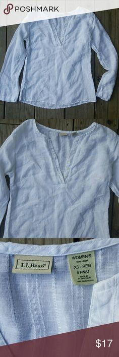 Beautiful L.L.Bean linen tunic Linen, white, small L.L. Bean Tops Tunics