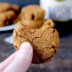 Paleo Gingersnap Cookies - Golden Barrel (use a flax egg) Paleo Treats, Healthy Cookies, Gluten Free Cookies, Gluten Free Desserts, Cookie Recipes Without Eggs, Real Food Recipes, Baking Recipes, Free Recipes, Ginger Snap Cookies