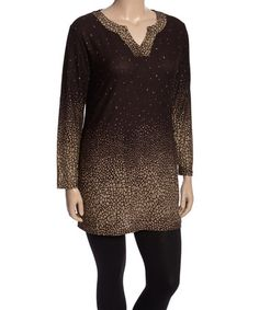 Another great find on #zulily! Coffee & Khaki Abstract Notch Neck Tunic - Plus #zulilyfinds