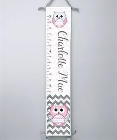 This Pink & Gray Owl Zigzag Personalized Growth Chart by Farmhousefive Art for Kids is perfect! #zulilyfinds Personalized Growth Chart, Gray Owl, Zig Zag, Pink Grey, Art For Kids, Growth Charts, Nursery, Baby Shower, Invitations