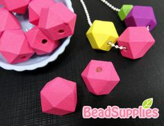 BE-WO-01014  Geometric wood beads neon pink 10 pcs by Beadsupplies (Craft Supplies & Tools, Jewelry & Beading Supplies, Beads, charm, special, cute, beadsupplies, geometric, wood beads, wood, neon pink)
