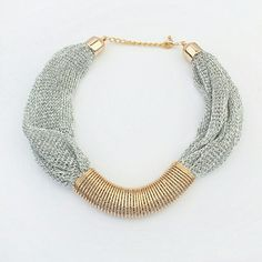 Chunky Necklace Fabric Mesh Material,gold pendant and chain closure Jewelry Necklaces