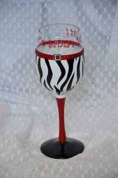 Animal Print Santa Wine Glass @Melissa Squires Squires Johnson & @Jennifer Milsaps L Beadling