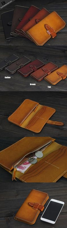 Handmade Men long leather wallet men vintage tan brown coffee wallet for him