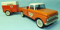 1960′s NYLINT U-HAUL FORD PICKUP TRUCK & TRAILER PRESSED STEEL TOY | Toys of Times Past