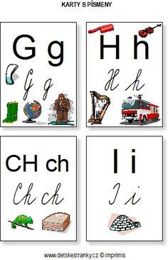 Abeceda – karty s písmeny – Dětské stránky Montessori Activities, Elementary Schools, Alphabet, Education, Sewing, Books, Abcs, Autism, Dressmaking