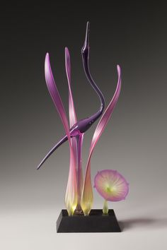 """Lone Crane Amethyst"" art glass sculpture created by artist Warner Whitfield. Radiant Orchid"