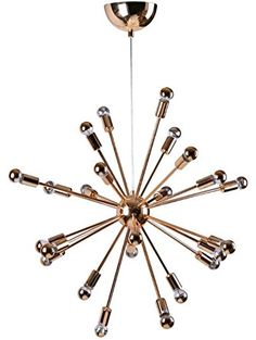 Modern Contemporary Chandelier Light, Gold, Metal ❤ America Luxury