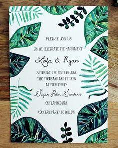 Oh So Beautiful Paper: Lola + Ryan's Hand Painted Tropical Wedding Invitations #weddinginvitation