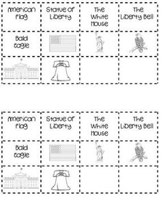 cut and paste matching activity on American symbols. Kindergarten Social Studies, Social Studies Worksheets, Social Studies Activities, Teaching Social Studies, Worksheets For Kids, Printable Worksheets, Educational Activities, Kindergarten Worksheets, Patriotic Symbols