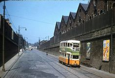 SPRINGBURN Springburn Rd looking towards St Rolloxs  Number 25 tram heading towards castle street -1961