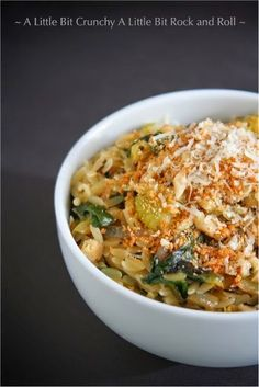 A Little Bit Crunchy A Little Bit Rock and Roll: Parmesan Orzo with Pan-Roasted Brussels Sprouts and Spinach