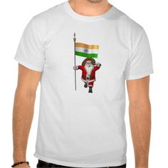 Good Old Santa Claus With Flag Of India T-shirts