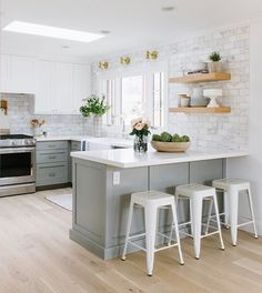 This kitchen just got a major overhaul and you can see the before/afters in our newest webisode on our YouTube channel! I love this gray+marble+wood combination so much. {All the kitchen accessories are from #mcgeeandco} :@jessicawhitephoto #emersonproject #interiordesigndiy