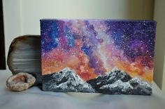 Snowy Peaks Galaxy Painting by HighSierraDesign on Etsy