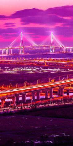 Incheon bridge at sunset in Seoul, South Korea. Beautiful view.