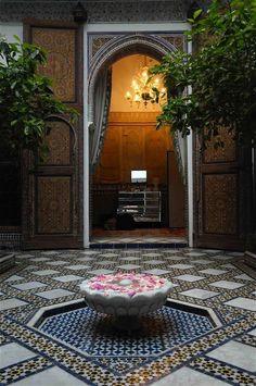 A Riad in Marrakesh travel morocco tangier Moroccan Art, Moroccan Interiors, Moroccan Design, Moroccan Style, Moroccan Garden, Marrakesh, Style Marocain, Religious Architecture, Moorish