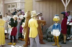 Mickey, Minnie, Chip, Dale, Donald Duck, and Captain Hook await for the parade to start. | 18 Wonderful And Rare Color Photos Of Disneyland In 1955