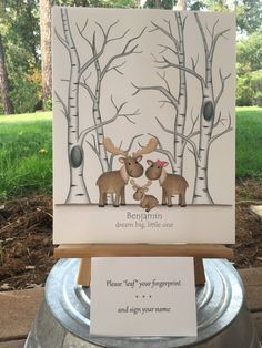 Customizable Thumb print tree guest book with a moose family and birch aspen trees to welcome a baby boy, Fingerprint tree guest book, moose - pinned by pin4etsy.com