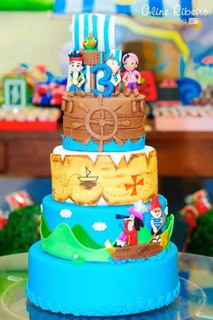 Jake and the Neverland Pirates themed birthday party via Kara's Party Ideas KarasPartyIdeas.com #kakeandtheneverlandpirates #pirateparty Cake, decor, supplies, printables, favors, and more! (21)