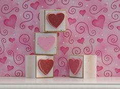 SQUARE BLOCKS with red pink and hot pink HEARTS for by lisabees, $6.95