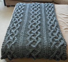 Big Chunky Cable Knit Blanket - Pattern Only - permission to sell what you make. $6.00, via Etsy.